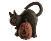 "Birch Maison Decorative Primitive / Farmhouse Paper Mache Cat with Pumpkin Figurine, Black / Orange - 8.5"" Tall"
