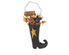 "Birch Maison Standing Paper Mache Primitive / Farmhouse Witch Boot with Wired Hanger, Stars and Halloween Themed Stuffing - 10"" Tall"