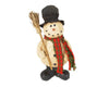 "Birch Maison Standing Paper Mache Primitive / Farmhouse Snowmen with Hat, Boots, Fabric Checkerd Scarf and Wooden Broom with Real Bristles - 11"" Tall"