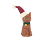 "Birch Maison Decorative Primitive / Farmhouse Paper Mache Cat Figurine with Fabric Santa Hat and Tin Bell around her Neck, Sitting - 6"" Tall"