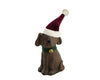 "Birch Maison Decorative Primitive / Farmhouse Paper Mache Dog Figurine with Fabric Santa Hat and Tin Bell around his Neck, Sitting - 6"" Tall"