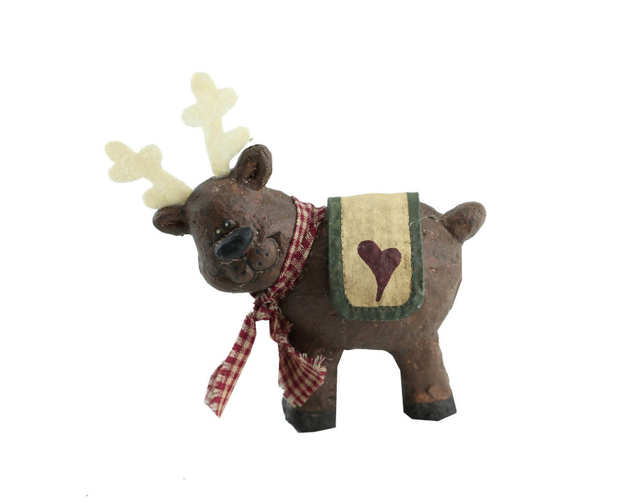 "Birch Maison Decorative Primitive / Farmhouse Farmhouse Reindeer with Checkered Scarf and Fabric Blanket with Heart on Back, Standing - 4.75"" Tall"