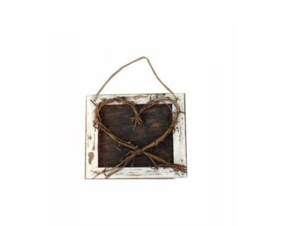 "Birch Maison Decorative Primitive / Farmhouse Wicker Heart on Wooden Frame with String Hanger - 7.5"" Tall"