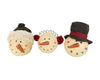 "Birch Maison Decorative Primitive / Farmhouse Paper Mache Snowman Head with Ear-Muffs, Hat and Beanie, Christmas Ornaments, Assorted, Set of 3 - 4.5"" Tall"