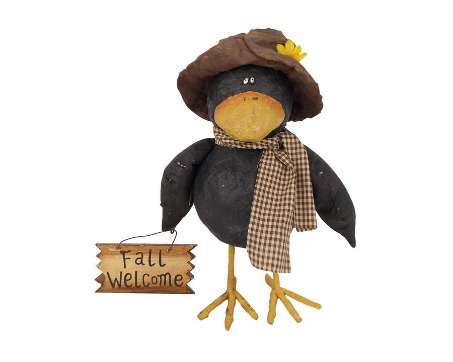 "Birch Maison Decorative Primitive / Farmhouse Paper Mache Crow with Fabric Mache Hat, Wings and Fabric Checkered Scarf, Holding a Wooden Sign ""Fall Welcome"", Standing - 12"" Tall"
