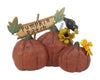 "Birch Maison Decorative Primitive / Farmhouse Paper Mache Pumpkin Trio with Wired Leaves and Yellow Flowers and Sign ""Pumpkin Patch""  - 8.25"" Tall"