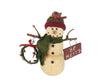 "Birch Maison Decorative Primitive / Farmhouse Paper Mache Snowmen with Fabric Hat and Scarf, Twig Arms Holding a Wreath and a Sign ""Be Merry"", Standing - 8"" Tall"