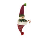 "Birch Maison Decorative Primitive / Farmhouse Paper Mache Snowman Sitting in a Fabric Hat with Candy Cane, Christmas Ornament - 12"" Tall"