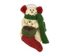 "Birch Maison Decorative Primitive / Farmhouse Standing Paper Mache Snowman with Fabric Scarf and Ear-Muffs Holding a large Fabric Stocking - 4.5"" Tall"