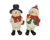 "Birch Maison Decorative Primitive / Farmhouse Standing Resin Snowman Couple - 4.95"" Tall"