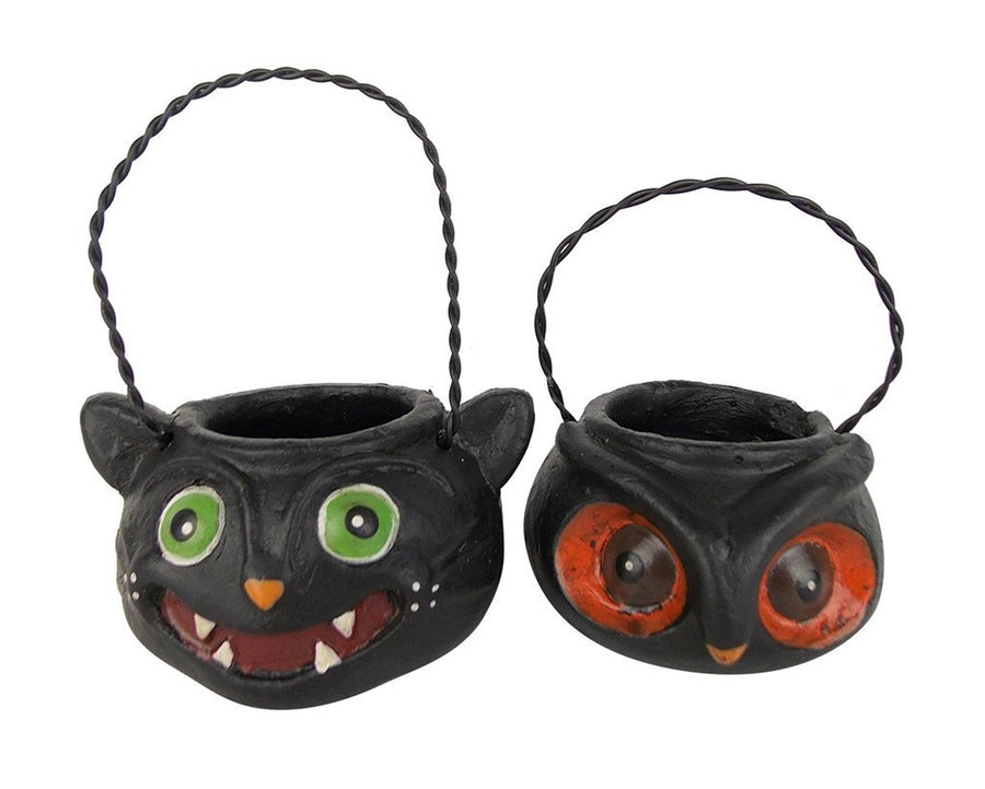 "Birch Maison Decorative Primitive / Farmhouse Paper Mache Cat and Owl, Ornaments, Assorted, Set of 2 - 1.75"" Tall"