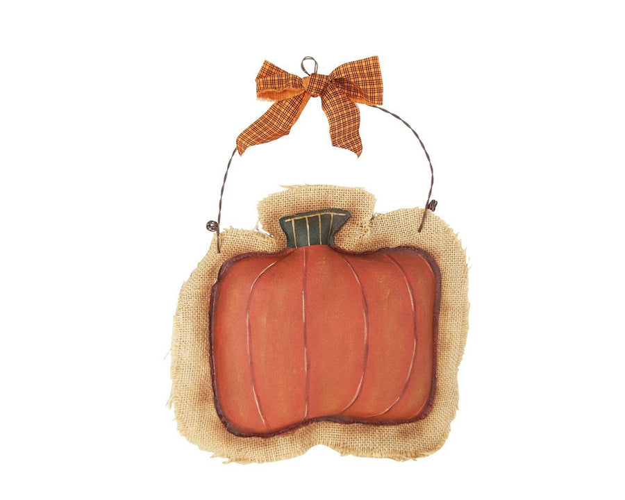 "Birch Maison Decorative Primitive / Farmhouse Fabric Painted Burlap Pumpkin, Hanging - 9.5"" Tall"