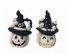 "Birch Maison Decorative Primitive / Farmhouse Paper Mache Jack-O-Lantern Ghost with 2 Figures on Hat, Assorted, Set of 2 - 7"" Tall"