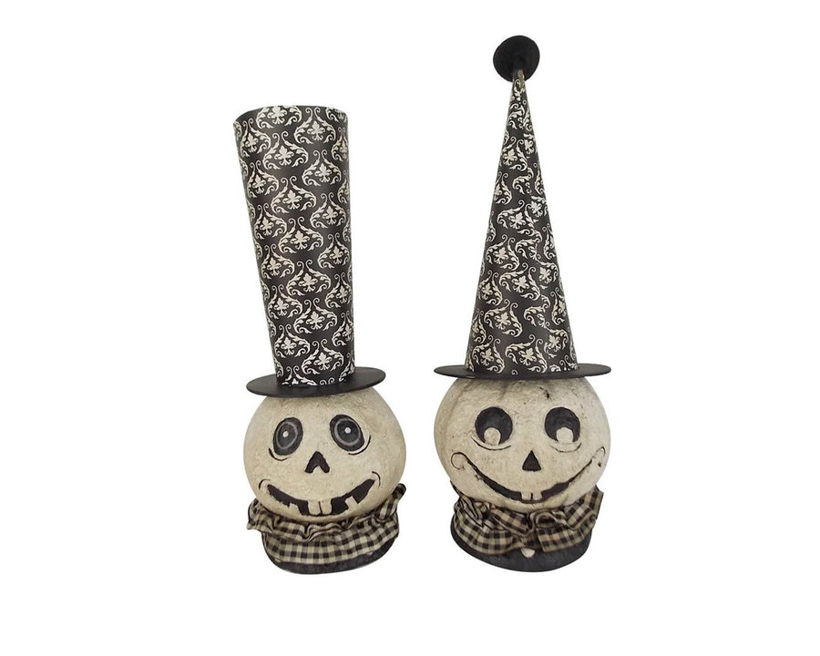 "Birch Maison Decorative Primitive / Farmhouse Paper Mache Ghost Heads with Tall Hats, Assorted, Set of 2 - 11"" Tall"