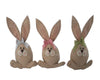 "Birch Maison Decorative Primitive / Farmhouse Fabric Easter Bunnies with long Ears and Checkered Bow Ties, Red / Blue / Green, Assorted Set of 3 - 10.5"" Tall"