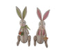 "Birch Maison Decorative Primitive / Farmhouse Fabric Easter Bunny Couple with Checkered Ears, Bow and Vest. Boy is Holding a Carrot and Girl a Basket, Green / Pink, Set of 2 - 19"" Tall"