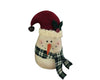 "Birch Maison Decorative Primitive / Farmhouse Fabric Snowman with Fabric Santa Hat and Checkered Scarf - 8.5"" Tall"