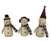 "Birch Maison Decorative Primitive / Farmhouse Fabric Snowmen with Fabric Hat, Ear-Muffs, Beanie and Checkered Scarfs, Assorted, Set of 3 - 8.5"" Tall"