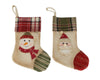 "Birch Maison Decorative Primitive / Farmhouse Fabric Christmas Stocking Ornaments with ""Snowmen & Santas"", Assorted, Set of 2 - 10"" Tall"
