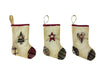 "Birch Maison Decorative Primitive / Farmhouse  Fabric Christmas Stocking Ornaments with ""Heart - Tree - Star"", Off-White, Assorted, Set of 3 - 7.5"" Tall"