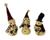 "Birch Maison Decorative Primitive / Farmhouse Half-Body Paper Mache Snowmen with Fabric Scarfs and Candy Cane Letters that read ""JOY"", Assorted, Set of 3 - 8"" Tall"