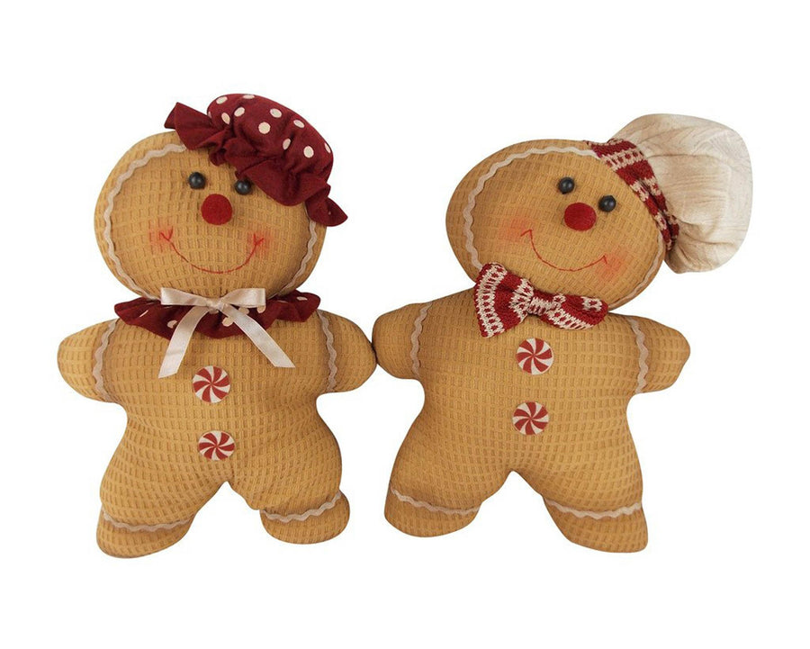 "Birch Maison Decorative Primitive / Farmhouse Fabric Gingerbread Couple with Chef's Hat & Bow Tie and Polka Dot Beret & Ribbon, Assorted, Set of 2 - 12.5"" Tall"
