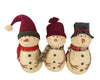 "Birch Maison Decorative Primitive / Farmhouse Standing Paper Mache Snowman Trio with Fabric Hats and Scarfs, Set of 3 - 10.5"" Tall"