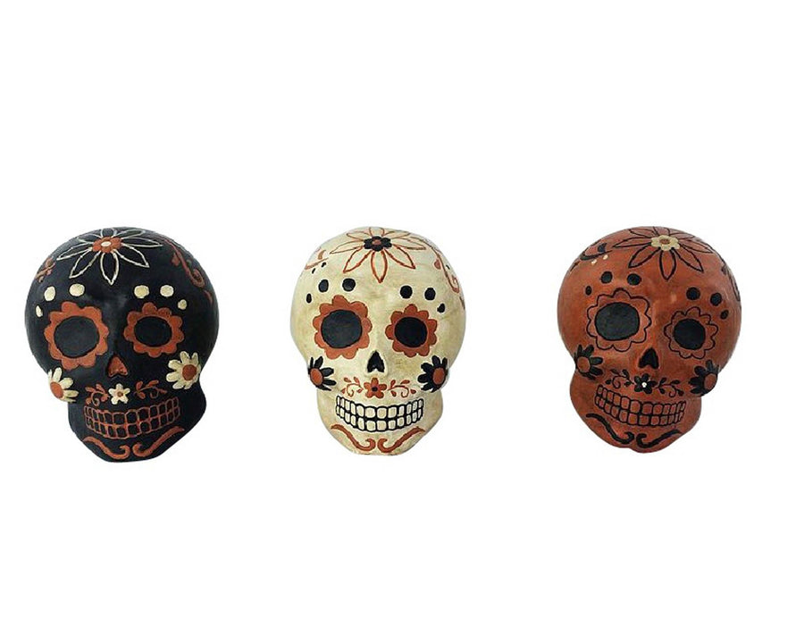 "Birch Maison Decorative Primitive / Farmhouse Paper Mache ""Dia De Los Muertos"" Skulls, Assorted, Set of 3 - 6"" Tall"