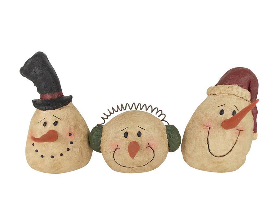 "Birch Maison Decorative Primitive / Farmhouse Paper Mache Snowman Heads with Hat, Ear-Muffs and Beanie, Set of 3, Assorted - 6.5"" Tall"