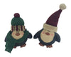 "Birch Maison Decorative Primitive / Farmhouse Paper Mache Santa and Penguin with Fabric Scarfs and Hats, Christmas Ornaments, Assorted, Set of 2 - 4"" Tall"