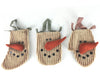 "Birch Maison Decorative Primitive / Farmhouse Fabric Snowmen Bags with Checkered Fabric Hangers, Christmas Ornaments, Assorted, Set of 3 - 8.75"" Tall"