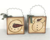 "Birch Maison Decorative Primitive / Farmhouse Paper Mache Board Bag Ornaments With Wired Hanger and Ribbon, with Snowman and Snowmen Head, Assorted, Set of 2 - 8"" Tall"