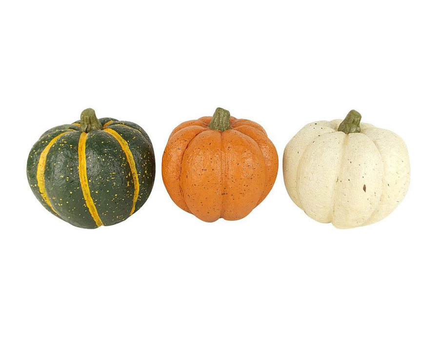 "Birch Maison Decorative Primitive / Farmhouse Paper Mache Pumpkins,  Green - Off-White - Orange, Assorted, Set of 3 - 5.25"" Tall"