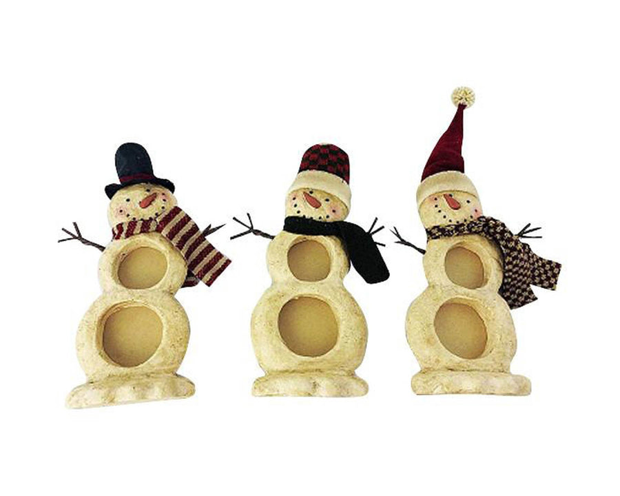 "Birch Maison Decorative Primitive / Farmhouse Paper Mache Snowmen Photo Frame Trio with 2 Round Slots each, Standing, Assorted, Set of 3 - 10.5"" Tall"