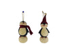 "Birch Maison Decorative Primitive / Farmhouse Standing Paper Mache Penguin on Snowball Christmas Ornaments Duo, with Fabric Hat and Scarf, Set of 2 - 4.5"" Tall"
