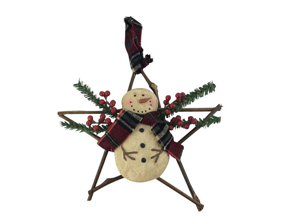"Birch Maison Decorative Primitive / Farmhouse Paper Mache Snowman on Wicker Star with Berries and Faux Pine Tree Branches, Christmas Ornament - 11.5"" Tall"