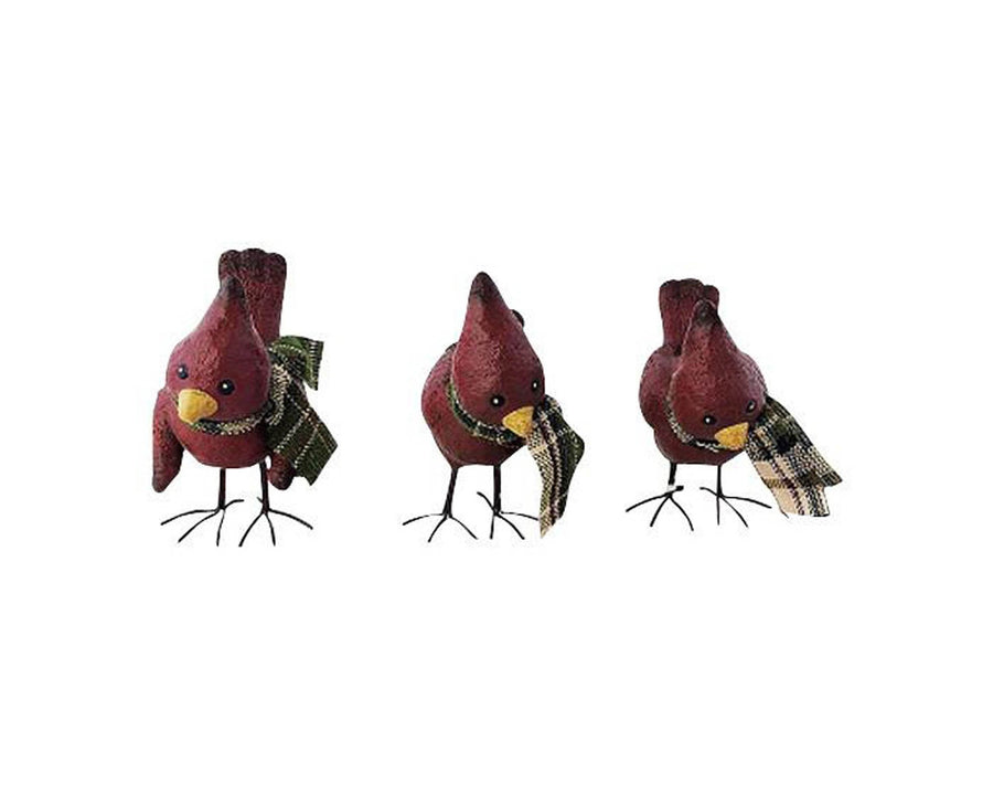 "Birch Maison Decorative Primitive / Farmhouse Standing Paper Mache Red Cardinals with Fabric Scarfs, Set of 3, Assorted - 5"" Tall"