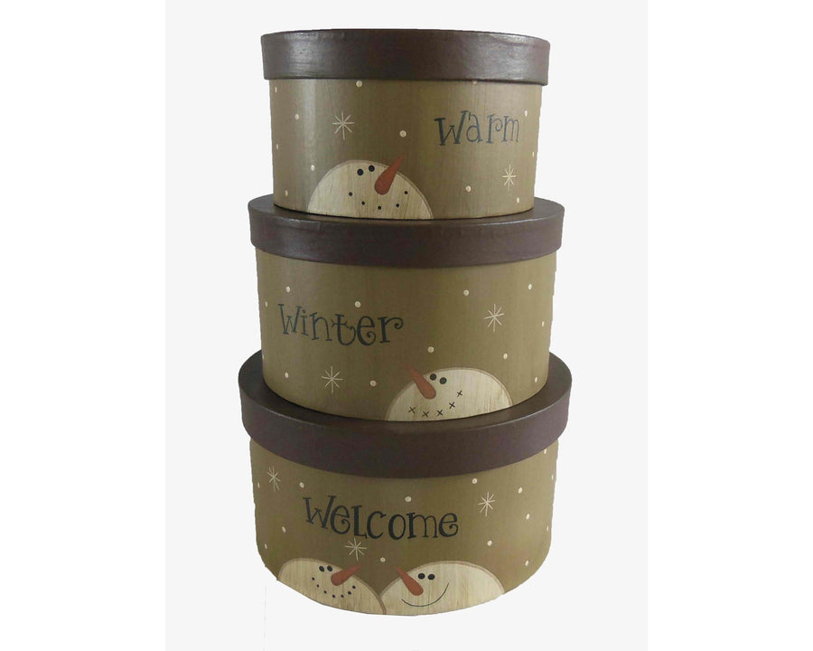 "Birch Maison Decorative Primitive / Farmhouse Round Nesting Boxes ""Warm Winter Welcome"", Stackable, Set of 3 - 3"" H, 3.5"" H, 4"" H"