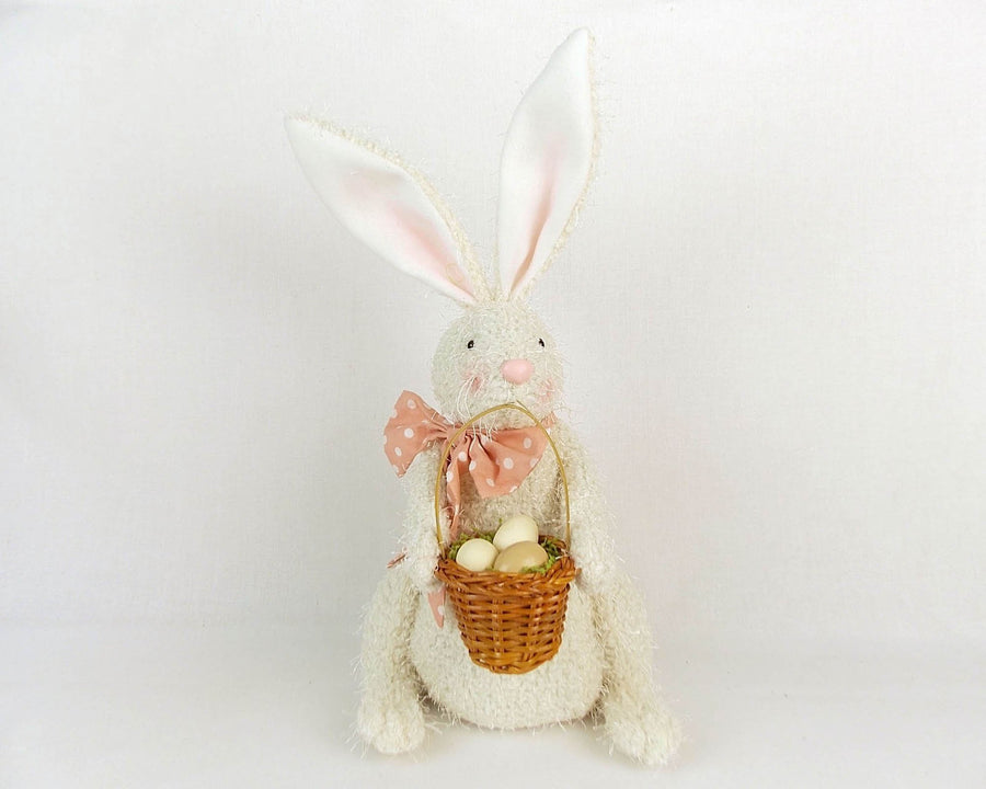 "Birch Maison Decorative Primitive / Farmhouse Sitting Fabric Bunny with Pink Bow and Egg Basket, Off White - 9.5"" Tall"