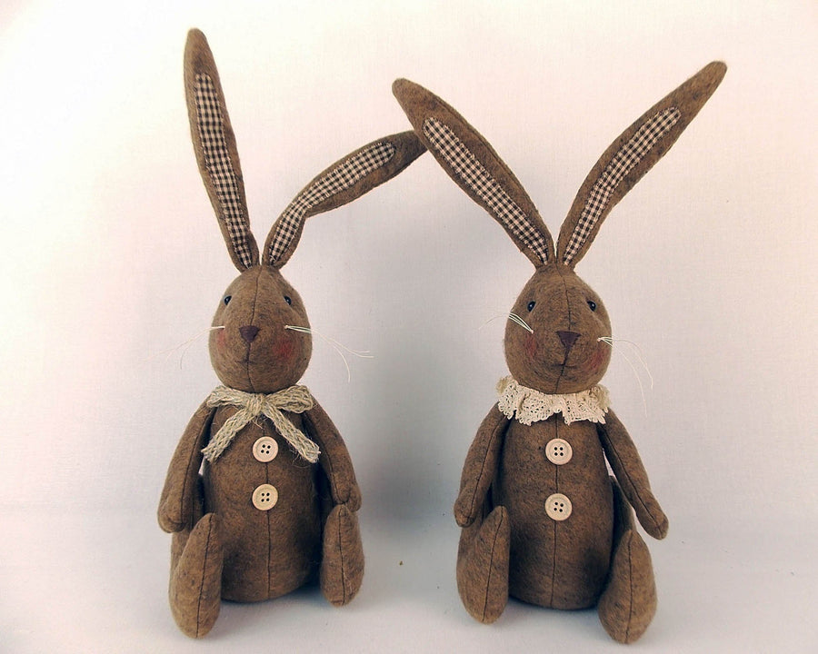 "Birch Maison Decorative Primitive / Farmhouse Sitting Fabric Bunny Couple with Collar & Scarf and Checkered Ears, Brown, Assorted, Set of 2 - 15"" Tall"