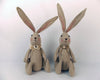 "Birch Maison Decorative Primitive / Farmhouse Sitting Burlap Bunny Couple with Ribbons, Brown, Assorted, Set of 2 - 15"" Tall"