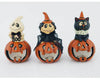 "Birch Maison Decorative Primitive / Farmhouse Paper Mache Jack-O-Lantern Trio with LED Lights, Ghost / Witch / Cat sitting on a Jack-O-Lantern - 7.5"" Tall"