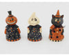 "Birch Maison Decorative Primitive / Farmhouse Paper Mache Ghost / Witch / Cat sitting Trio with Cut Outs and  LED Lights, - 7"" Tall"