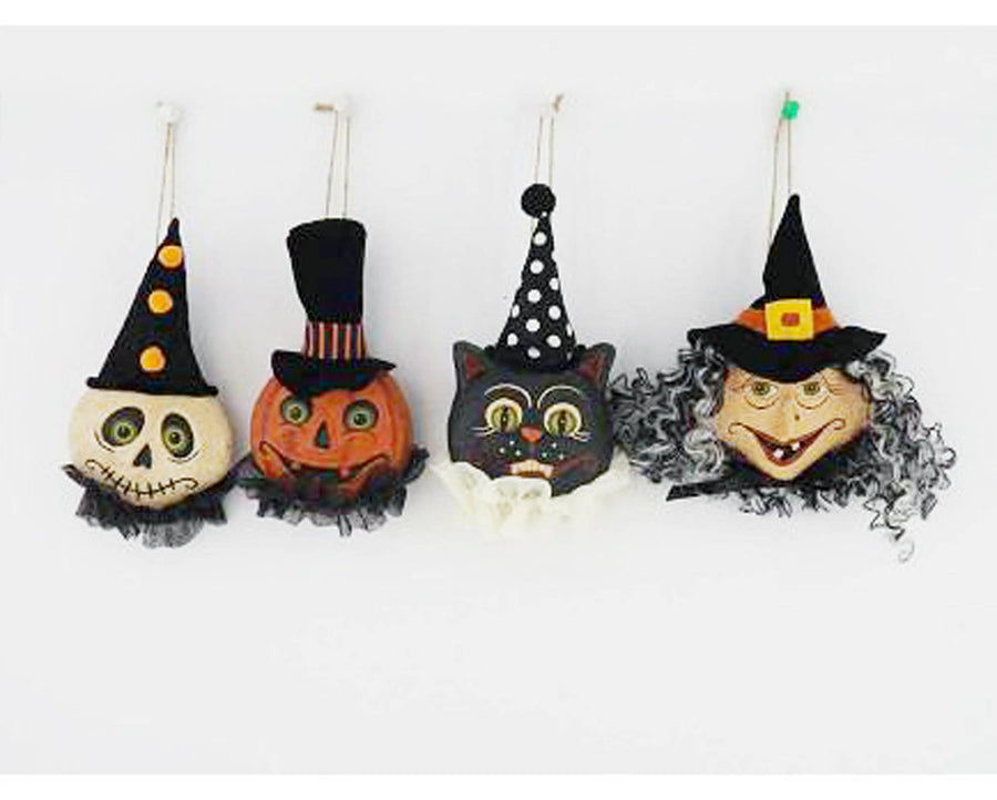 "Birch Maison Decorative Primitive / Farmhouse Paper Mache Halloween Heads, Ghost / Jack-O-Lantern / Cat / Witch with Hats and Ruffles, Ornaments, Assorted, Set of 4 - 5.5"" Tall"