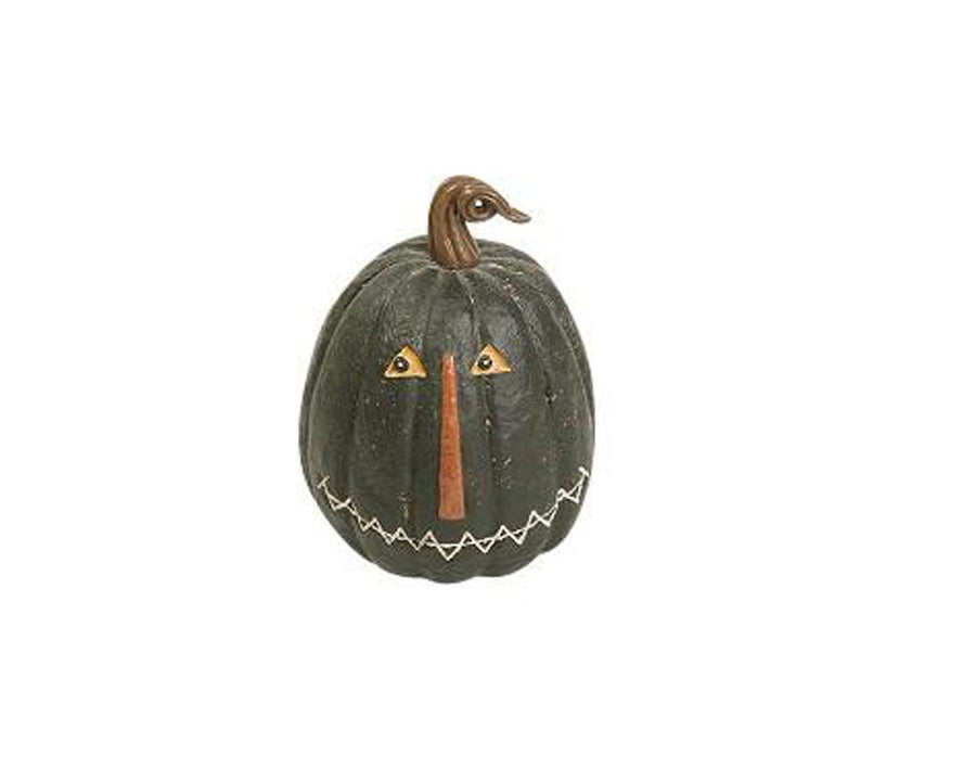 "Birch Maison Decorative Primitive / Farmhouse Paper Mache Halloween Jack-O-Lantern, Light-Black - 7.75"" Tall"