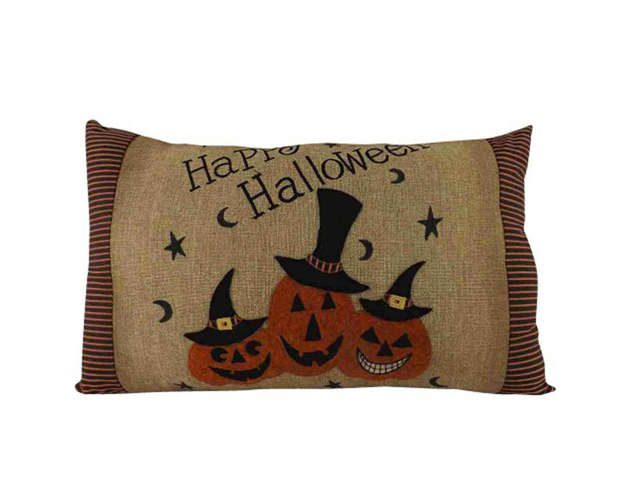 "Birch Maison Decorative Primitive / Farmhouse Fabric Pillow ""Happy Halloween"" -20"" L x 5.5"" W x 11"" L"