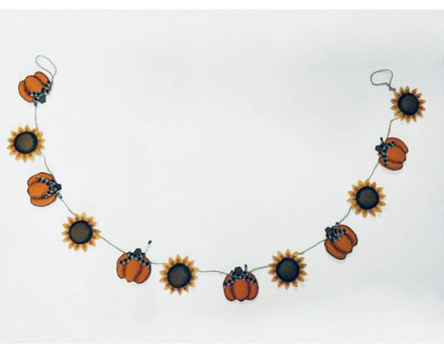 "Birch Maison Decorative Primitive / Farmhouse Fabric Halloween Garland ""Pumpkins & Sunflowers"", Orange-Yellow - 72"" Long"