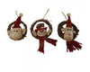 "Birch Maison Decorative Primitive / Farmhouse Fabric  ""Santa - Snowman - Reindeer"" Heads in Wreaths with Hanger, Christmas Ornaments, Assorted, Set of 3 - 4.75"" Tall"