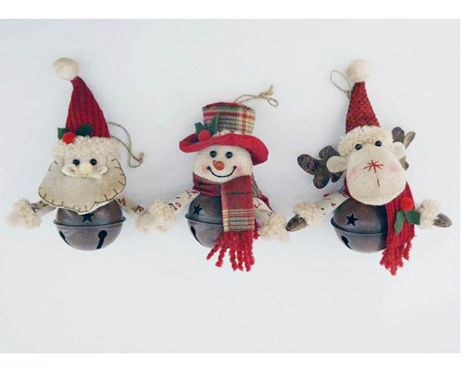 "Birch Maison Decorative Primitive / Farmhouse Fabric  ""Santa - Snowmen - Reindeer"" Sitting in Rustic Tin Bells with Fabric Scarfs and Hats, Christmas Ornaments - 5"" Tall"