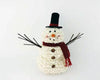 "Birch Maison Decorative Primitive / Farmhouse Chenille Fabric Snowman with Fabric Scarf, Hat and Twig Arms, Standing - 13"" Tall"